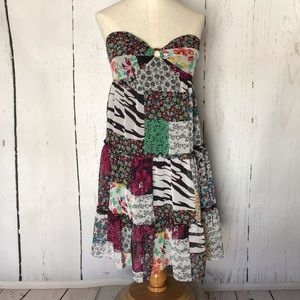 GUESS patchwork animal print strapless dress